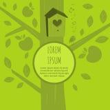 Fond écologique avec un oiseau Carte de voeux avec l'oiseau Concept d'écologie Image libre de droits