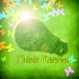 Fond écologique de source avec l'ampoule Photo stock