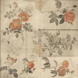 Fond élégant minable de roses botaniques de cru illustration libre de droits
