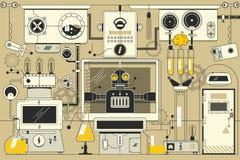 Fond électronique futuriste abstrait de laboratoire Illustration linéaire mince de course illustration libre de droits