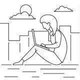 Fond éloigné extérieur de concept de travail de fille, style d'ensemble illustration stock