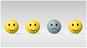 Fond émotif avec la boule triste de visage parmi les boules heureuses de visage illustration de vecteur