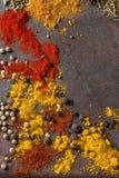 Fond épicé avec des poivrons de piment Photographie stock