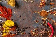 Fond épicé avec des poivrons de piment Image stock