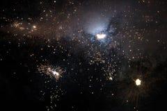 Fond étonnant d'espace lointain - fermez-vous vers le haut des feux d'artifice Photographie stock libre de droits