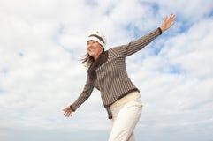 Fond aîné heureux de nuage de femme Photo libre de droits