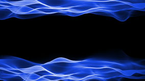 Fond abstrait, animation débordante de mouvement doux bleu sur le fond noir illustration stock