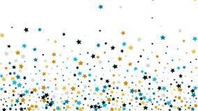 Fond abstrait avec beaucoup de confettis d'or en baisse aléatoires d'étoiles sur le fond Photo stock