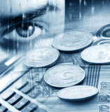 Fond abstrait avec de l'argent et une calculatrice Photographie stock libre de droits