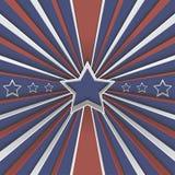 Fond abstrait avec des étoiles et des rayures rouges et blanches sur le bleu Illustration de Vecteur