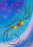 Fond abstrait avec des flocons de neige et des cloches et décor de couleur des spirales Photographie stock