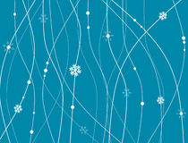 Fond abstrait avec des lignes, des points et des flocons de neige Photos stock