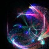 Fond abstrait avec des particules et des lignes de lueur Photo stock