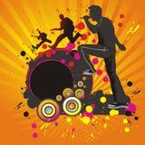 Fond abstrait avec des silhouettes des musiciens. Image libre de droits