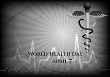 Fond abstrait avec des symboles médicaux Jour de santé du monde caduceus illustration libre de droits