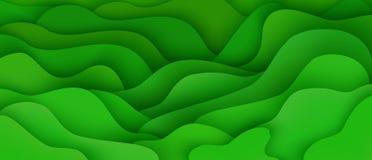 Fond abstrait avec l'écoulement expressif de mouvement de vague verte et la composition liquide en formes illustration stock