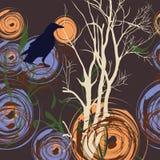 Fond abstrait avec l'arbre et la corneille Photos stock
