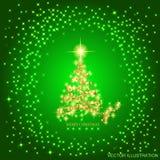 Fond abstrait avec l'arbre et les étoiles de Noël d'or Illustration dans des couleurs de vert et d'or Illustration de vecteur Photos stock