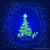 Fond abstrait avec l'arbre et les étoiles de Noël verts Illustration dans des couleurs bleues et vertes Illustration de vecteur Images stock