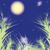 Fond abstrait avec la lune, les étoiles, les nuages et l'e Photos libres de droits