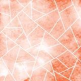 Fond abstrait avec la maille géométrique des lignes sur une texture de rouge d'aquarelle Photos stock