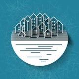Fond abstrait avec la silhouette de ville Photo libre de droits