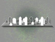 Fond abstrait avec la silhouette de ville Images stock