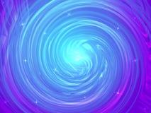 Fond abstrait avec la spirale tordue colorée au centre et aux étoiles Image stock