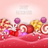Fond abstrait avec la sucrerie douce Image libre de droits