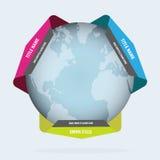Fond abstrait avec le globe et les étiquettes Photos stock