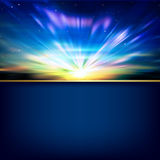 Fond abstrait avec le lever de soleil et les montagnes Photo libre de droits