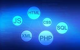 Fond abstrait avec le manuscrit de programmation de Web Image libre de droits