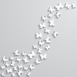 Fond abstrait avec le papillon de papier sous la forme de vague Photos libres de droits