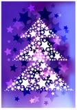 Fond abstrait avec les étoiles et la silhouette éclatantes d'arbre illustration libre de droits