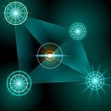 Fond abstrait avec les étoiles vertes trame Photos libres de droits
