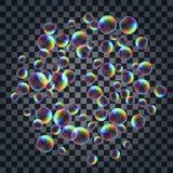 Fond abstrait avec les bulles de savon réalistes multicolores Photographie stock