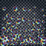 Fond abstrait avec les bulles de savon réalistes multicolores Images stock