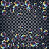 Fond abstrait avec les bulles de savon réalistes multicolores Photo stock