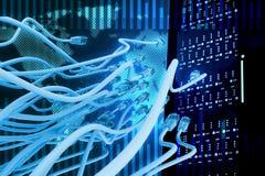 Fond abstrait avec les câbles bleus Photos libres de droits
