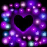 Fond abstrait avec les coeurs au néon sur le fond noir Vecteur lumineux et contemporain de design de carte Images libres de droits