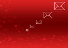 Fond abstrait avec les coeurs et le graphisme rouges de lettre illustration stock