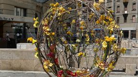 Fond abstrait avec les décorations florales de belle rue banque de vidéos