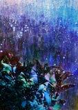 Fond abstrait avec les feuilles bleues, thème d'hiver de fond de bande dessinée, paysage abstrait d'hiver, thème de nuit d'hiver Photo libre de droits