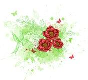 Fond abstrait avec les fleurs rouges Photo libre de droits