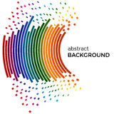 Fond abstrait avec les lignes colorées d'arc-en-ciel et les morceaux volants Cercles colorés avec l'endroit pour votre texte Image libre de droits