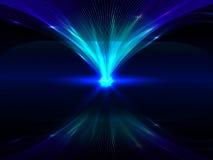 Fond abstrait avec les lignes de verrouillage lumineuses bleues et leur réflexion Photos stock