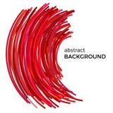 Fond abstrait avec les lignes incurvées colorées rouges dans un ordre chaotique Photo libre de droits