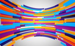Fond abstrait avec les lignes pliées par couleur Vague colorée dynamique Formes géométriques sur le contexte gris Illustration de illustration libre de droits