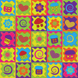 Fond abstrait avec les maisons colorées de dessin animé Image stock