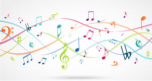 Fond abstrait avec les notes colorées de musique Photo stock